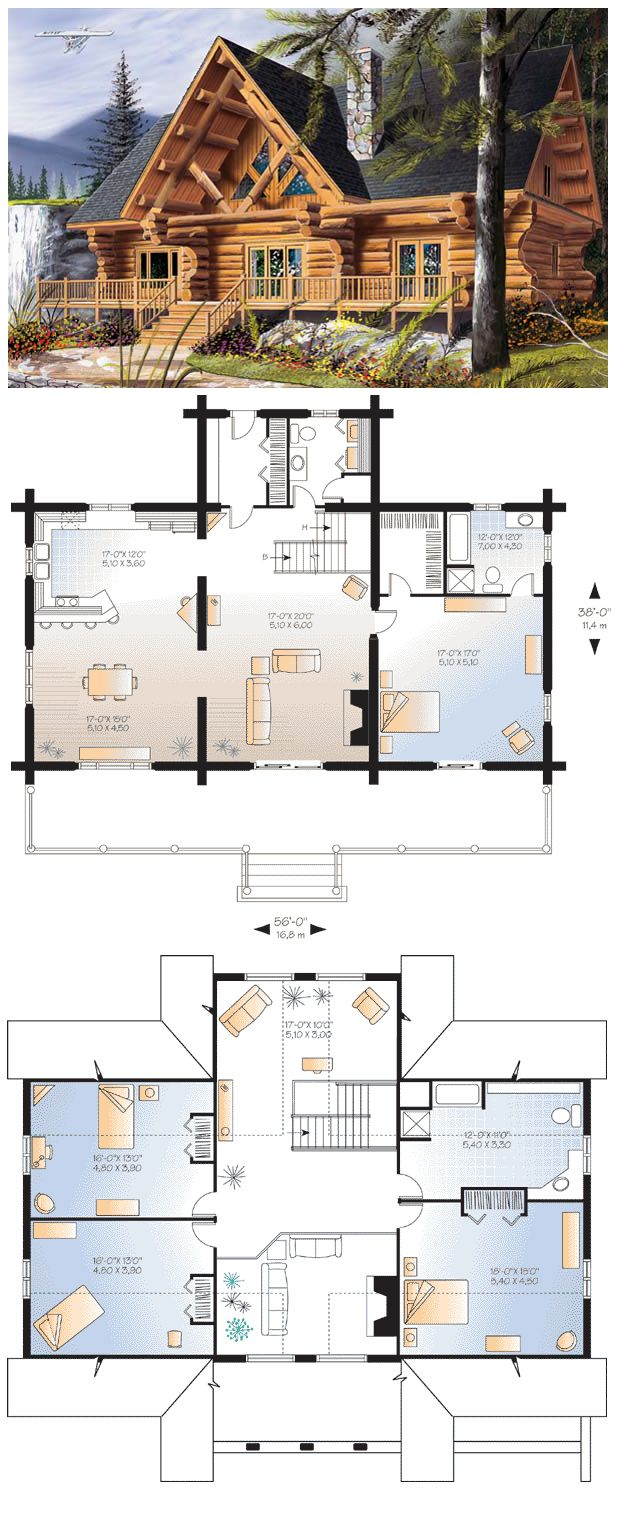 Log cabin floor plans with 2 master suites little log for House plans with two master suites on main floor