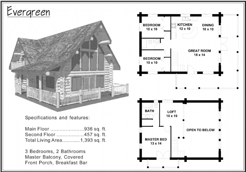 Log cabin floor plans with wrap around porch log cabin for Beach house plans under 1500 sq ft