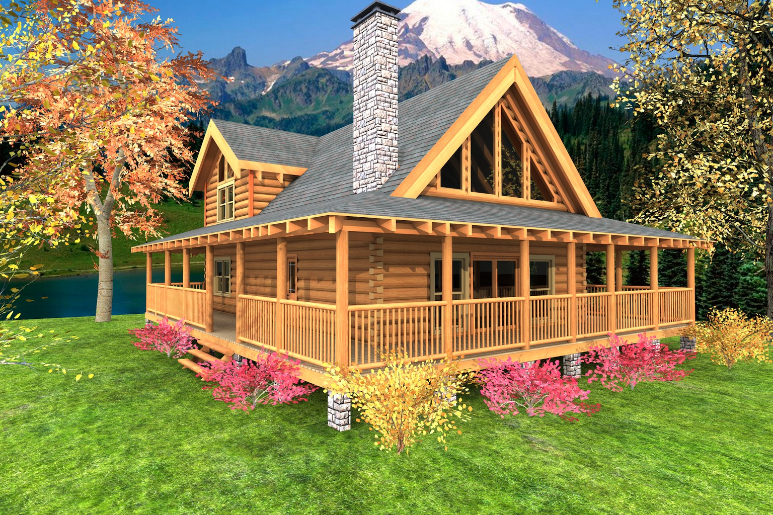 Log cabin floor plans with wrap around porch log cabin for Square log cabin plans