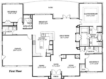 Simple One Story House Floor Plans Nice One Story Houses