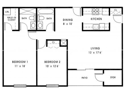 Small 2 Bedroom House Plans 1000 Sq FT Inside Small Houses