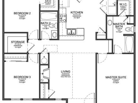 Small 3 Bedroom House Floor Plans 2 Bedroom House with Garage