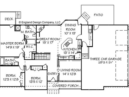 Small house plans with open floor plan house floor plan for Texas ranch floor plans