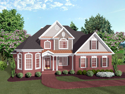 Traditional Two Story House Plan Historic Two-Story House