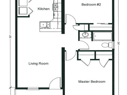 Two Bedroom Open Floor Plans Small Two Bedroom Floors