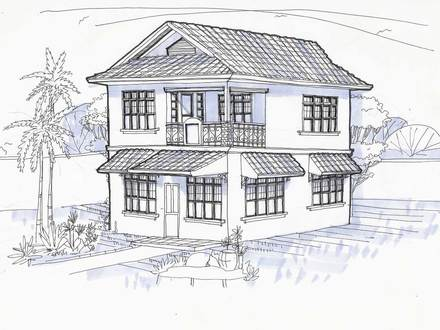 Two Story Houses in Perspective Drawing Simple Two-Story House