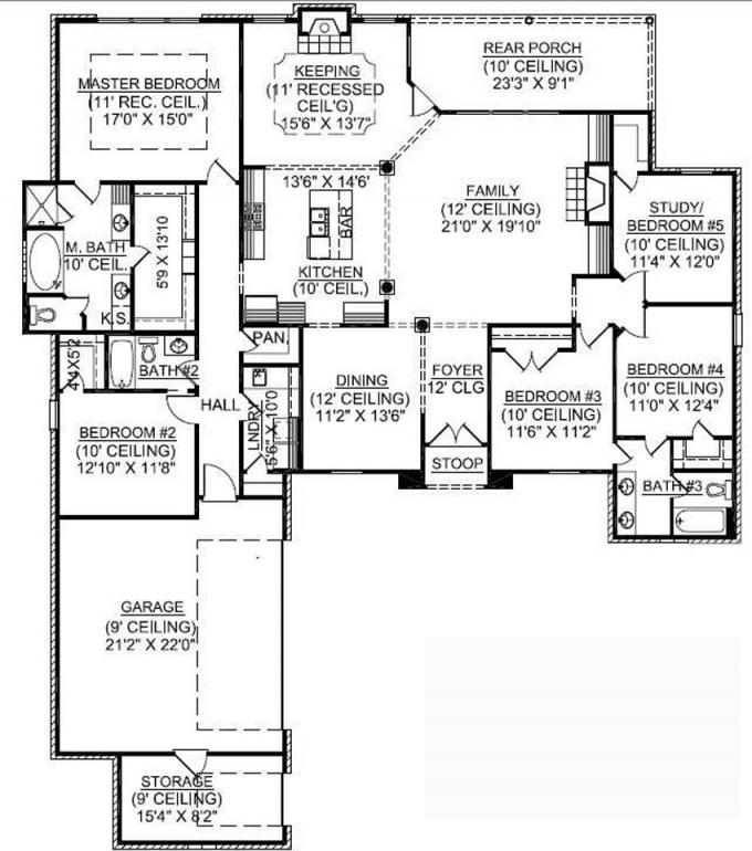 1.5 Story Old House 1 Story 5 Bedroom House Plans