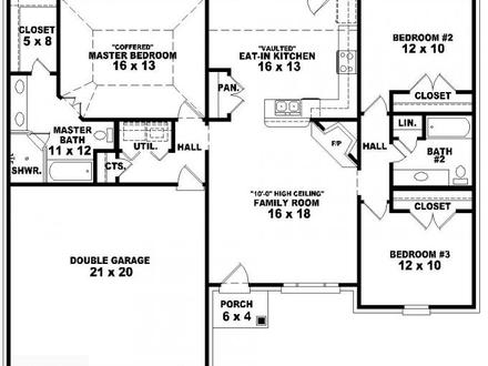 3 Bedroom One Story House Plans 3 Bedroom House