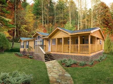 Ranch log cabin wood cabin ranch style house cabin style for Modular homes that look like houses