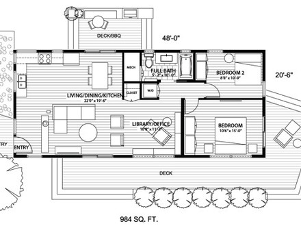Simple small house floor plans tiny cottage house plans for Tiny house open floor plan