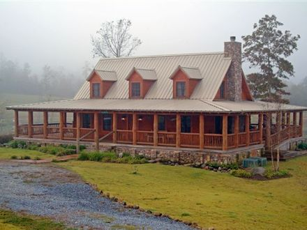 Log Cabin with Wrap around Porch House Log Cabin with Drive Way