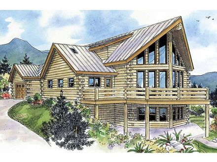 Log Home Plans with Garages Story Log Home Plan, 051L 0009 Dream Home Pinterest