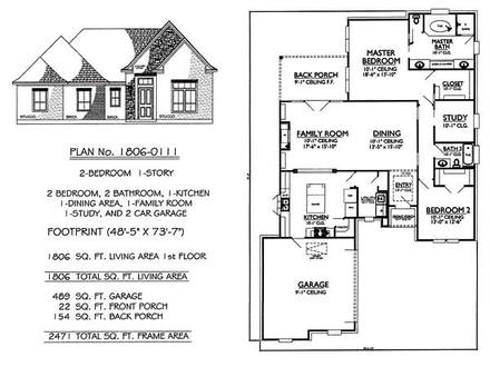 Long Lots Blueprints 3 Bedroom 1 Story 2 Bedroom One Story House Plans