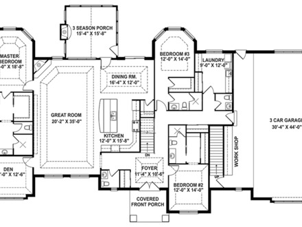 One story craftsman style house plans 3 story craftsman for One level house plans with porch