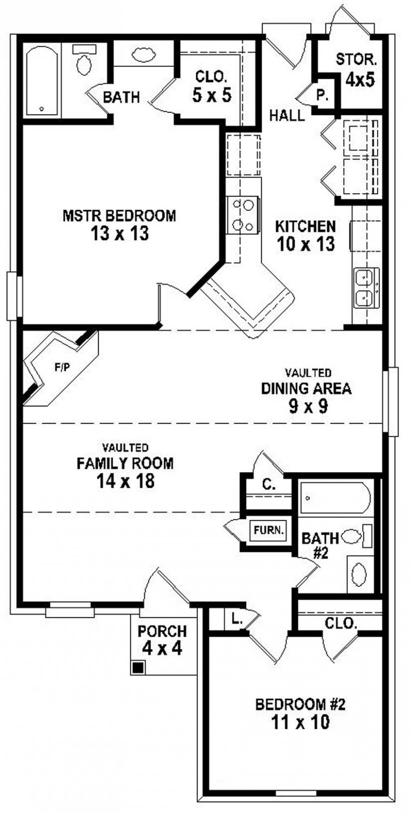 Simple 2 Bedroom House Floor Plans Small Two Bedroom House Plans