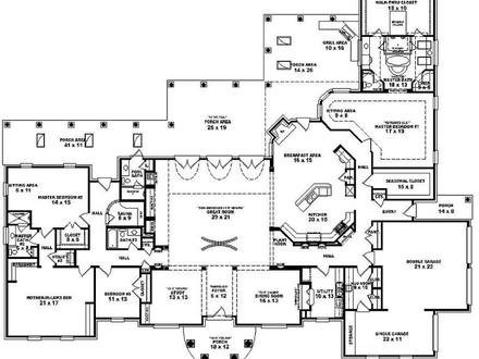 Two Bedroom 4 Bedroom Single Story House Plans