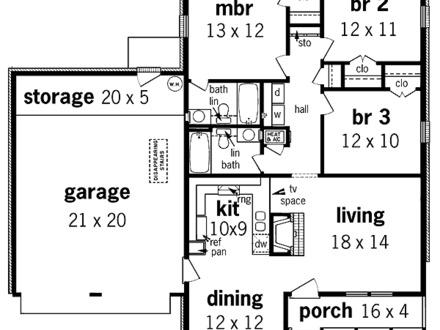 1100 Sq Ft House Plans 1100 Sq FT Ranch House