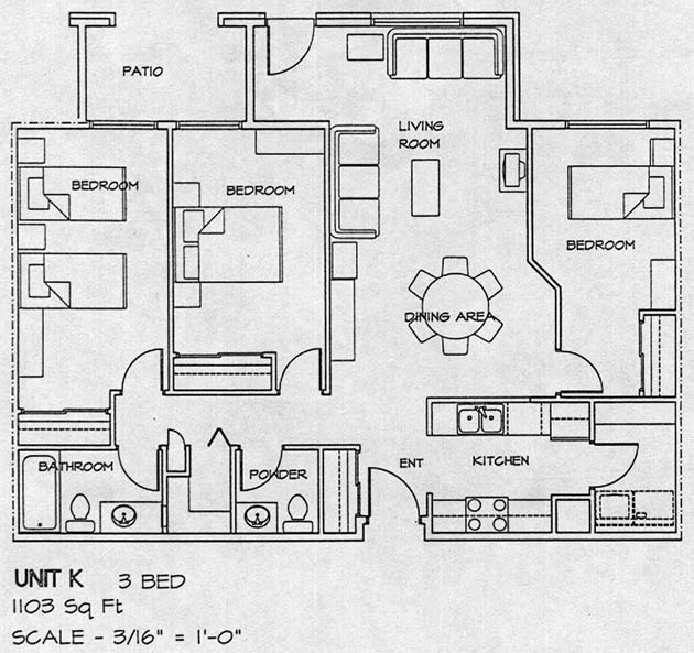 3 bedroom house floor plans 3 bedroom section 8 houses for 3 unit apartment building plans