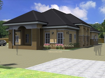 4-Bedroom Ranch House 4 Bedroom Bungalow House