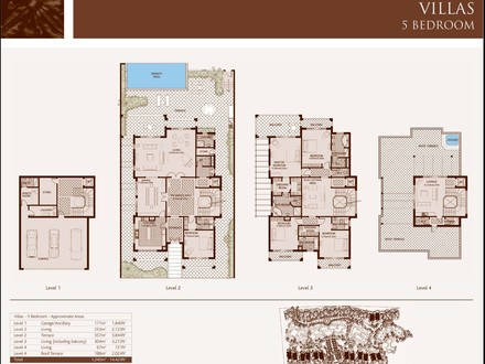 Hollywood Bedroom 5 Bedroom Villa Floor Plan