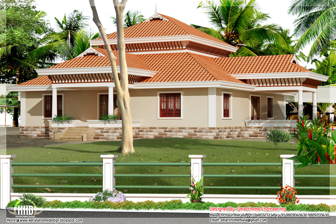 Kerala style single storey house design craftsman bungalow for One story bungalow style house plans