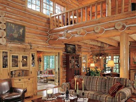 Log Cabin Great Room Fireplace in a Log Cabin Great Room of the Rustic