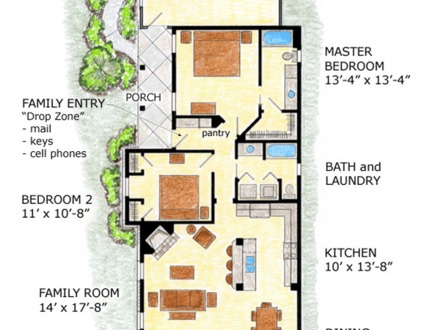 Lot Narrow Plan Bungalow House One Story Narrow Lot Bungalow Plans