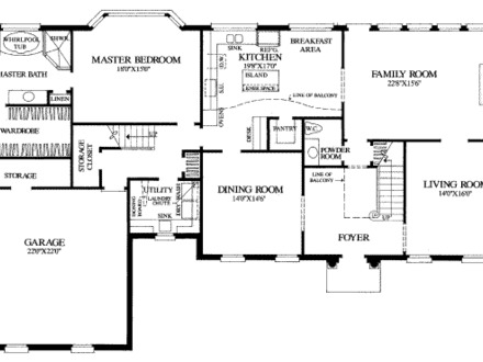 Simple rectangle house floor plans simple house floor plan for French colonial house plans