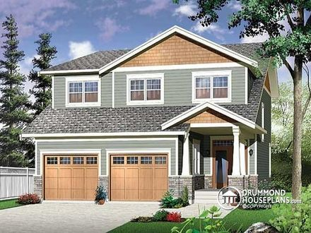 Narrow Two Story Craftsman House Plans with Garage Two-Story Home Exterior Ideas