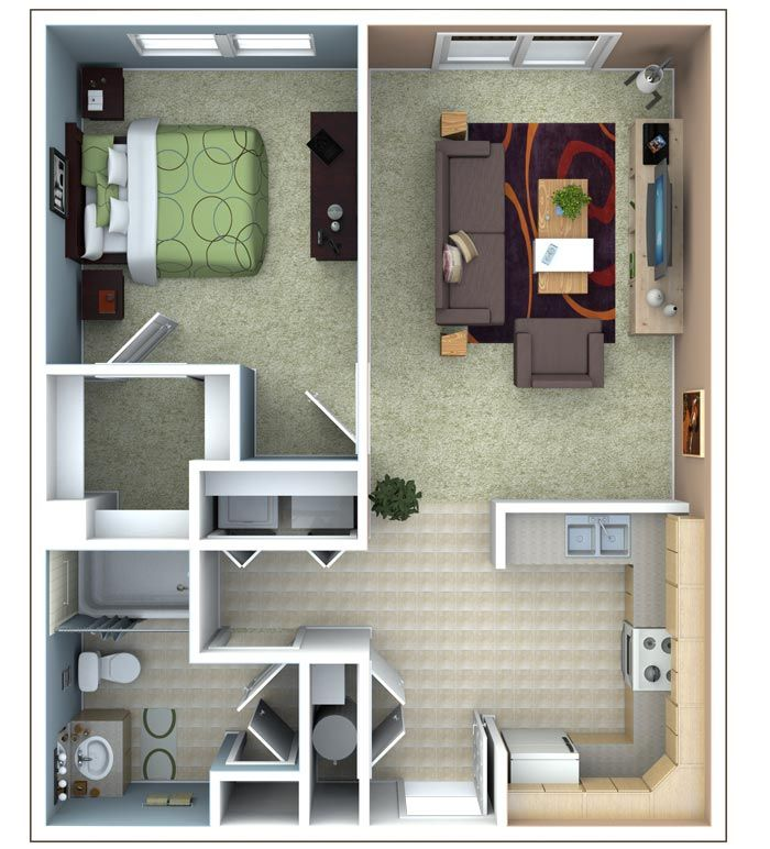 One bedroom apartment floor plan studio apartment floor for One bedroom efficiency apartment plans