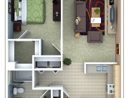 One Bedroom Apartment Floor Plan Studio Apartment Floor Plans