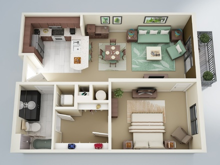 One Bedroom Apartment Layouts 3D One Bedroom Apartment Floor Plans
