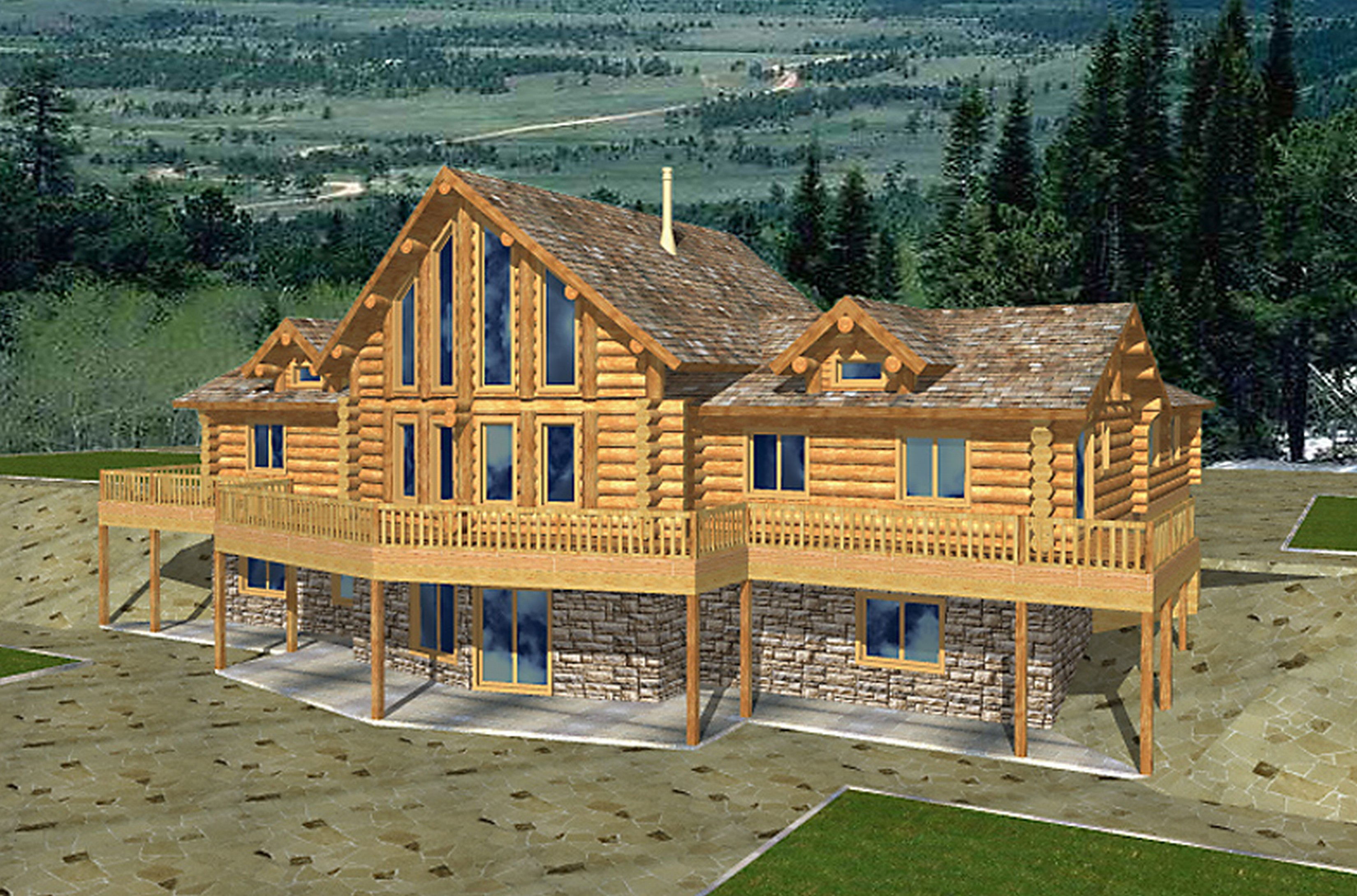 Open floor plans log home with plans log home plans with for Large log home plans