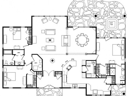 Ranch Floor Plans Log Homes Log Home Floor Plans