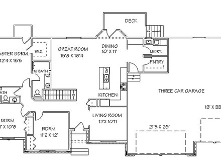 Single Story Open Floor Plans Ranch House Floor Plans with Basement