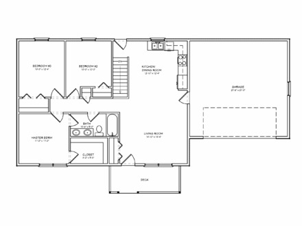Small House Plan Three Bedrooms Small Two Bedroom House Plans