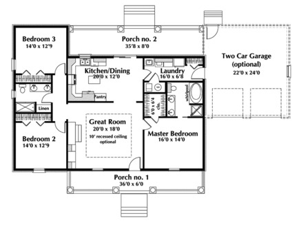 Small Single Story House Plans Small House 1-Story House