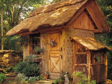 Thatched Roof Shed Firewood Shed