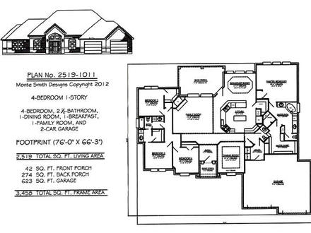 1 Story House Plans with 4 Bedrooms Open One Story House Plans