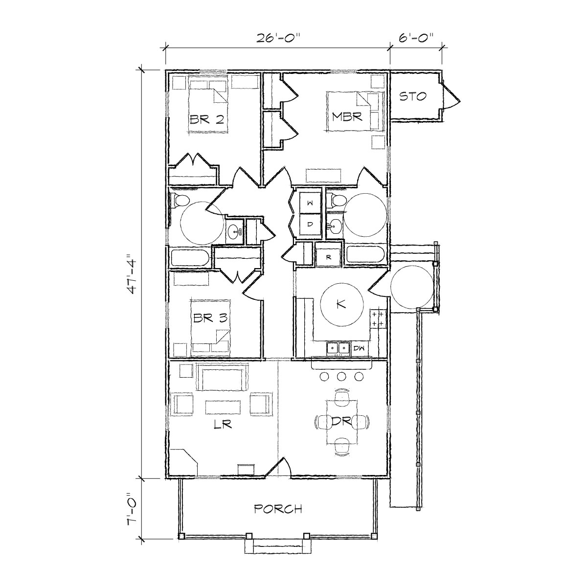 2 bedroom bungalow plans bungalow floor plan floor plan for Two bedroom bungalow plans