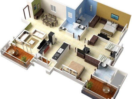 3D 3 Bedroom House Plans 3 Bedroom House Floor Plans