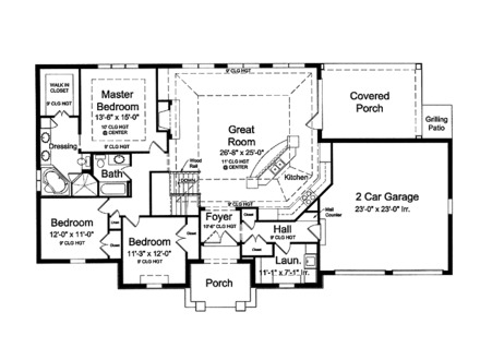 Bungalow house plans with garage southern house plans for Open house plans with porches