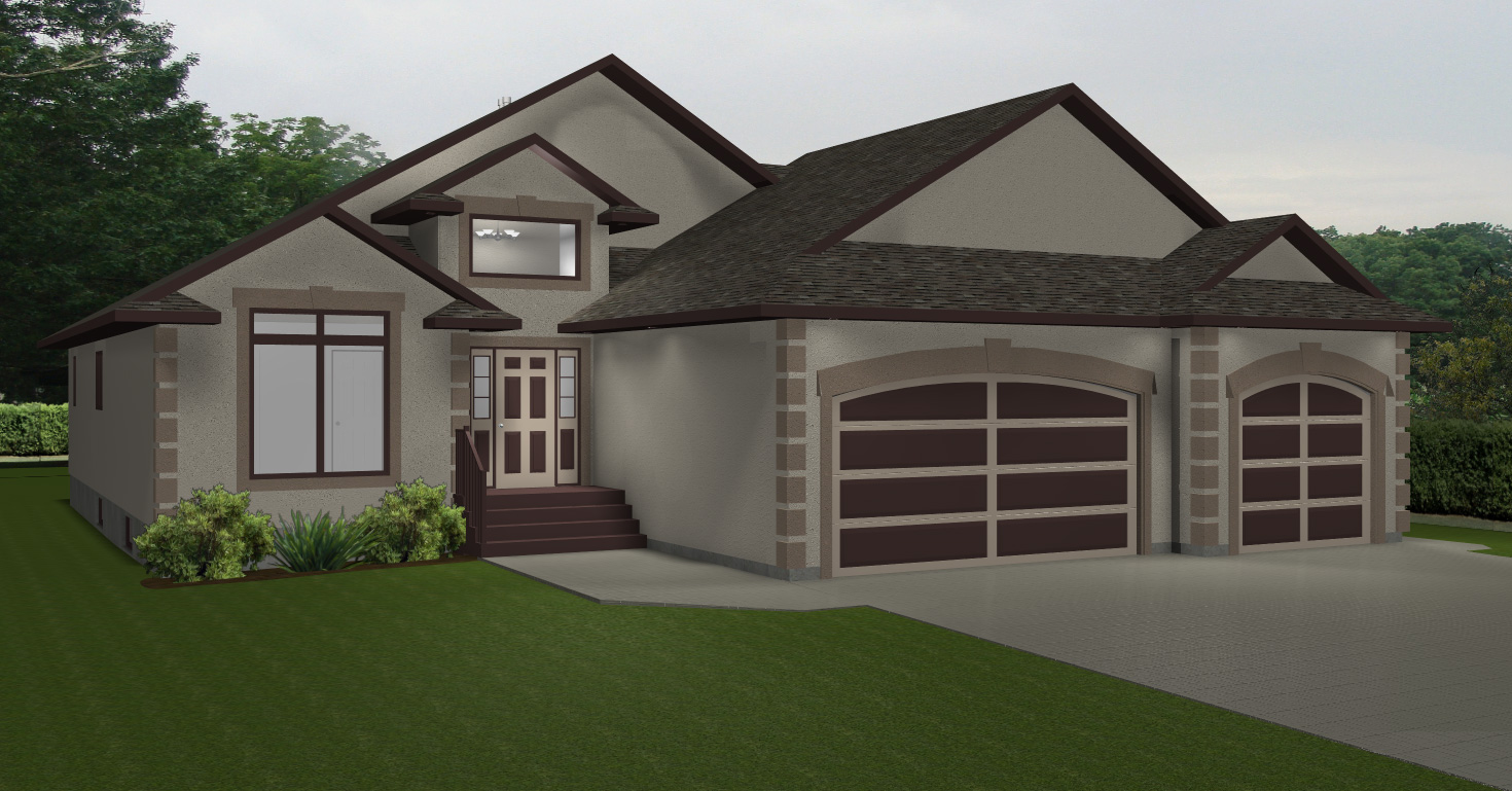 House plans with 3 car garage la house plans bungalow for Bungalow plans with garage