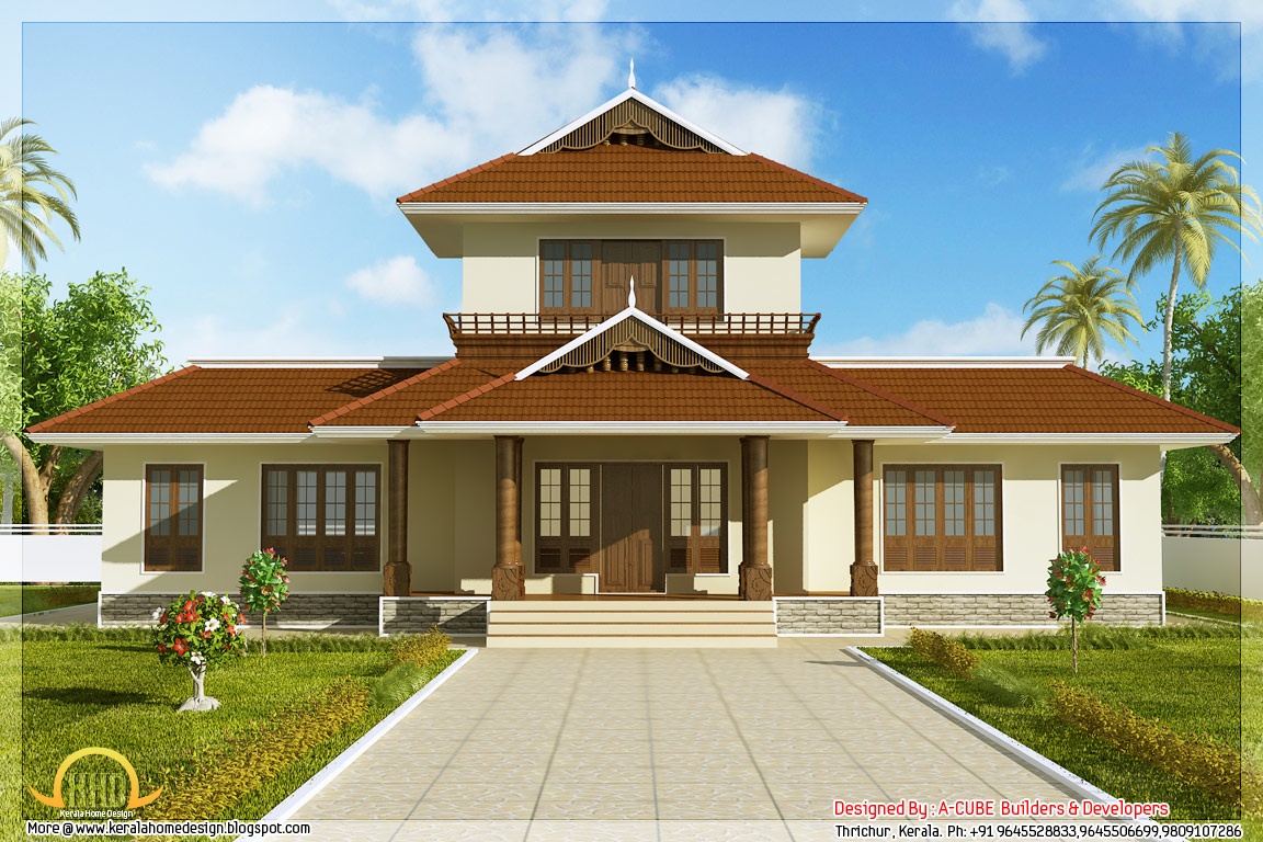 Home Front Elevation Drawings : Kerala house plans front elevation design
