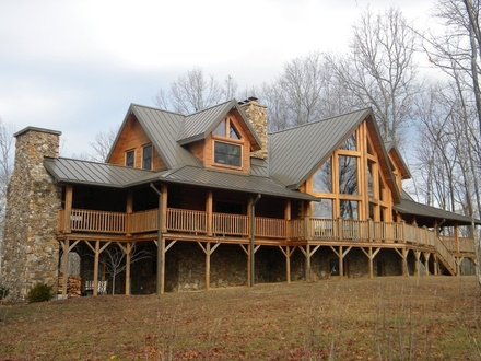 Log Cabin Home with Wrap around Porches Log Cabin Homes Inside