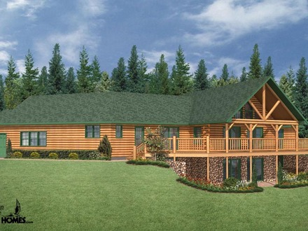 Ranch log homes floor plans luxury mountain log homes for Log cabin ranch home plans