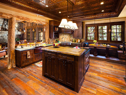 Log Home Great Rooms Large Log Home Kitchen Design