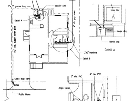 Architect drawing house plans simple house drawings small for Household plumbing diagram