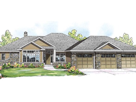 Ranch Home Exterior End View Ranch Style Lake House Plans