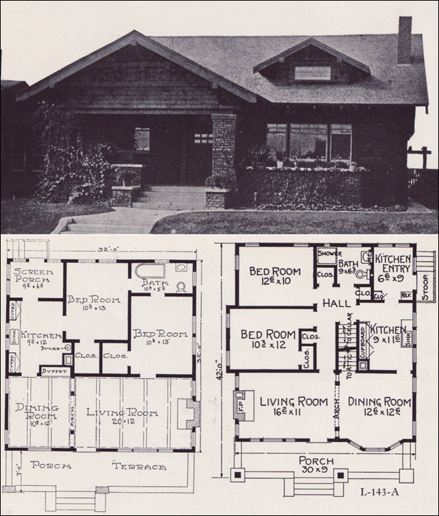 1920 bungalow house plans 1920s brick bungalow house plans for Brick home floor plans with pictures